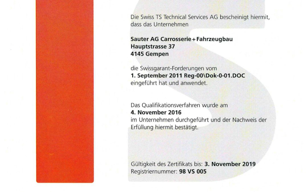 Swissgarant Rezertifikat